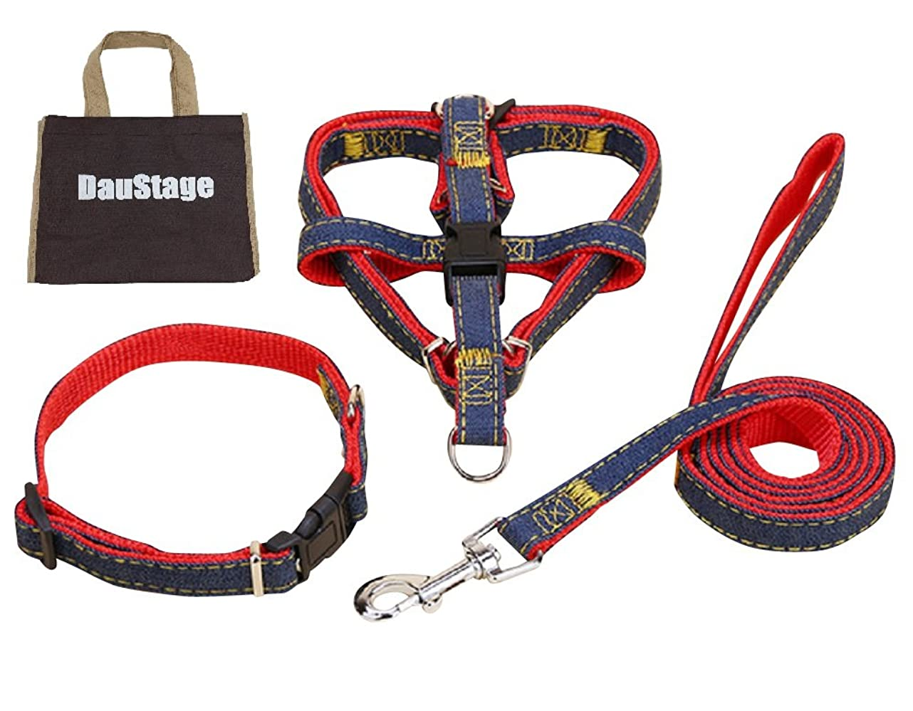 私たちのものオーストラリア人事前(DauStage) ハーネス リード 首輪 セット デニム 素材 選べる 4色 4サイズ 小型 中型 大型 犬用 トートバッグ付き (M, レッド)