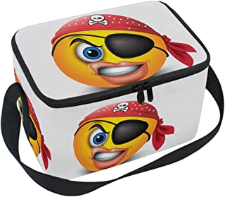 WIHVE Lunch Bag Insulated Lunch Box Emoticon With Red Pirate Bandana Eye Patch Cooler Lunch Tote Bag for School Work Picnic