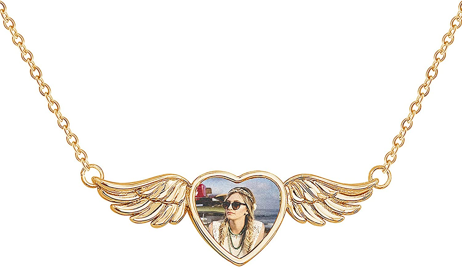 Personalized Heart Locket Necklace, Photo Necklace Picture Pendant, Custom Angel Wings Name Jewelry Gifts for Mom