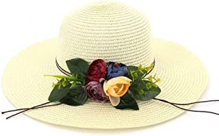 LiJuan Shen Fashion Floral Women Sun Hat Straw Hat Big Wings Beach Hat Outdoor Summer Hat