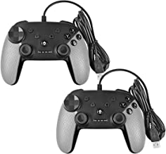 Battool Wired USB Switch Controller for Switch Pro PC PS3 Android Game Controllers with Motor Vibration and Turbo Function (Gray 2 Pack)