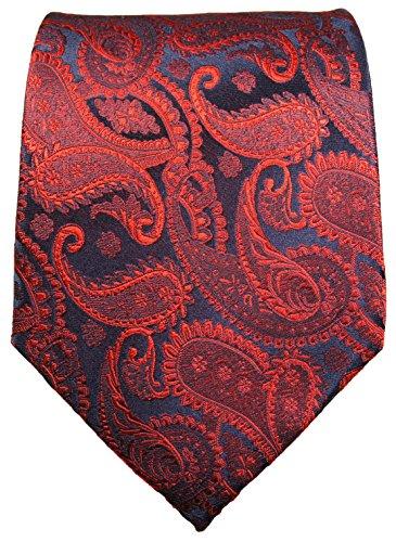 Paul Malone Cravate homme rouge bleu paisley 100% soie