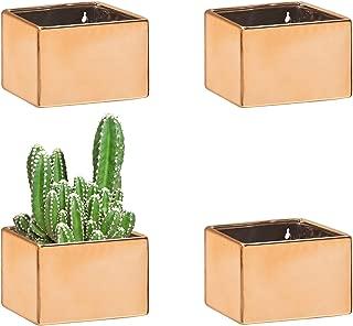 MyGift Wall Hanging Rose Gold-Tone Ceramic Planter Boxes, Set of 4