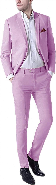 Shirleygel 2021 New Spring Summer Men's Linen Tuxedo Suit Two-Piece Fashion Wedding Dress Suit for Groom Groomsmen