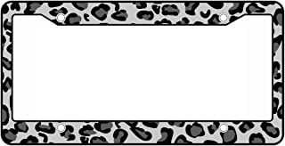 Plastic Animal Print License Plate Frame Made in USA- Leopard Snow