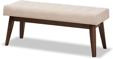 Baxton Studio Elia Mid-Century Modern Walnut Wood Light Beige Fabric Button-Tufted Bench Mid-Century/Light Beige/Walnut Brown