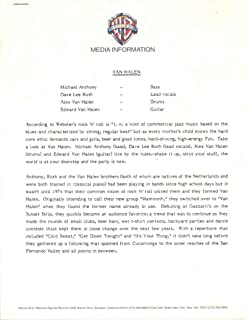 Van Halen Original 1974 Warner Brother Records Media Information Packet 0