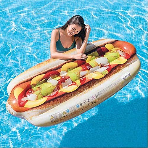Eurroweb Aufblasbare Matratze in Form eines Hot Dog (180 x 89 cm), Pool und Meer