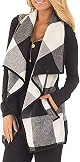 Unidear Womens Casual Lapel Open Front Plaid Vest...