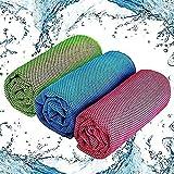 Toalla de enfriamiento, Toalla de Fitness refrescante de 3 Piezas, Toalla de Microfibra para Deporte, Trekking, Viajes y Yoga