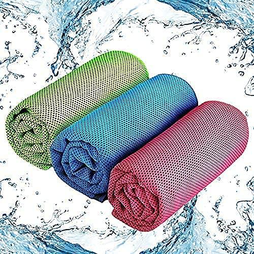 Toalla de enfriamiento, Toalla de Fitness refrescante de 3 Piezas, Toalla de Microfibra para...