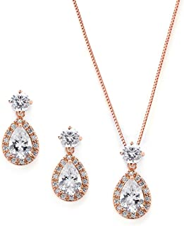 Rose Gold CZ Pear Shaped Necklace and Earrings Set - Wedding Jewelry for Brides & Bridesmaids