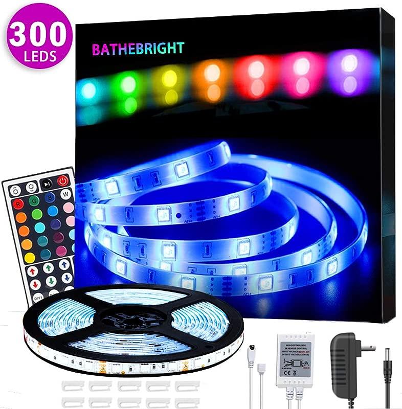 BATHEBRIGHT LED Strip Light Waterproof IP65 16 4ft 300Leds RGB SMD 5050 Rope LEDs Color Changing Light Full Kit With 44 Keys IR Remote Controller 12V 2A Power