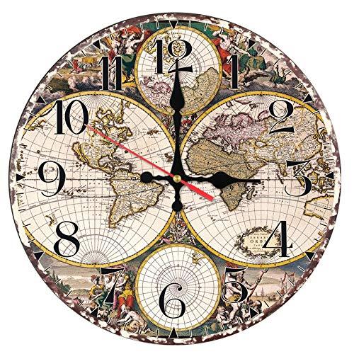 FGJMN Wandklok, moderne wandklok van hout, aparte kaarten, kwartsuurwerk, horloges, decoratie van het huis, gestorven stijl, eenzijdig Medium Meerkleurig