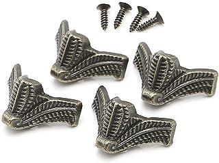 16 piezas de latón envejecido para joyería de madera de pecho esquina decorativa de metal patas de pierna protector de ...