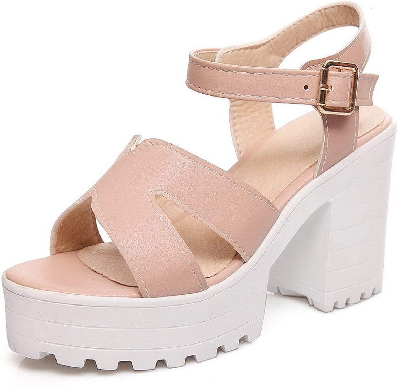 WeenFashion Women's Pu High Heels Open Toe Solid Buckle Heeled-Sandals