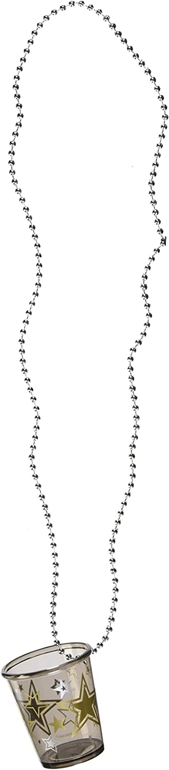 Amscan Funky Star Shot Glass Bead Necklace (12 1 Per Pack), Black,Silver,gold