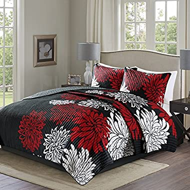 Comfort Spaces – Enya Quilt Mini Set - 3 Piece – Black and Red – Floral Printed Pattern – Full/Queen size, includes 1 Quilt, 2 Shams