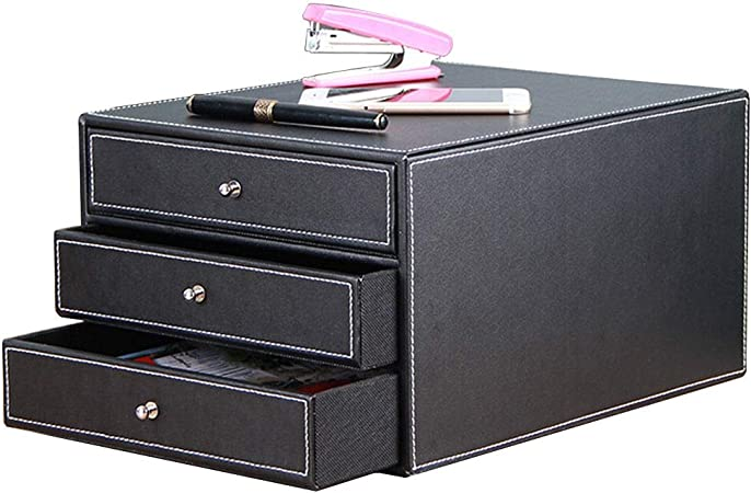 File cabinet File Cabinet Strong Collision Resistance Reasonable Storage Beautiful Design Different Color Standard Desks Small Size Leather Color : Black MDF 34X26X18.5CM Office Supplies