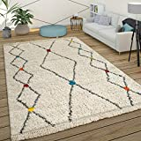 Paco Home Tapis À Poils Longs Shaggy Design Berbère Coloré Touches Moderne Ethnique Losanges en...