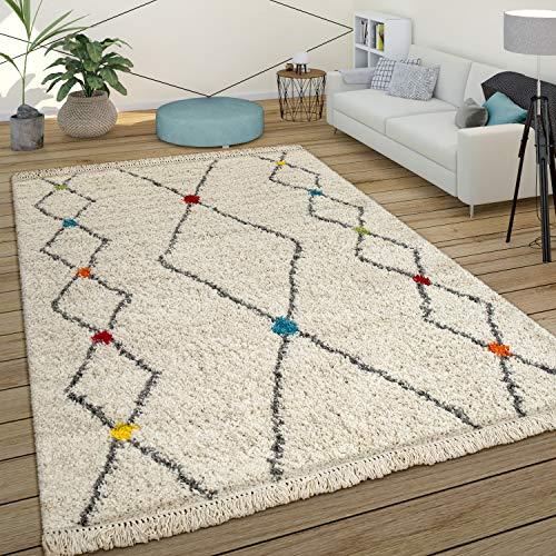 Paco Home Hochflor Ethno Teppich Beige Shaggy Berber Design Weich Flauschig Rauten Muster, Grösse:80x150 cm
