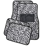 OxGord 4 Piece Leopard Print Carpet-Floor-Mats Set for Car - Rubber-Lined All-Weather Heavy-Duty Protection for All Vehicles, Gray/Back