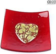 Original Murano Glass OMG Empty Pocket Gold Heart - Red