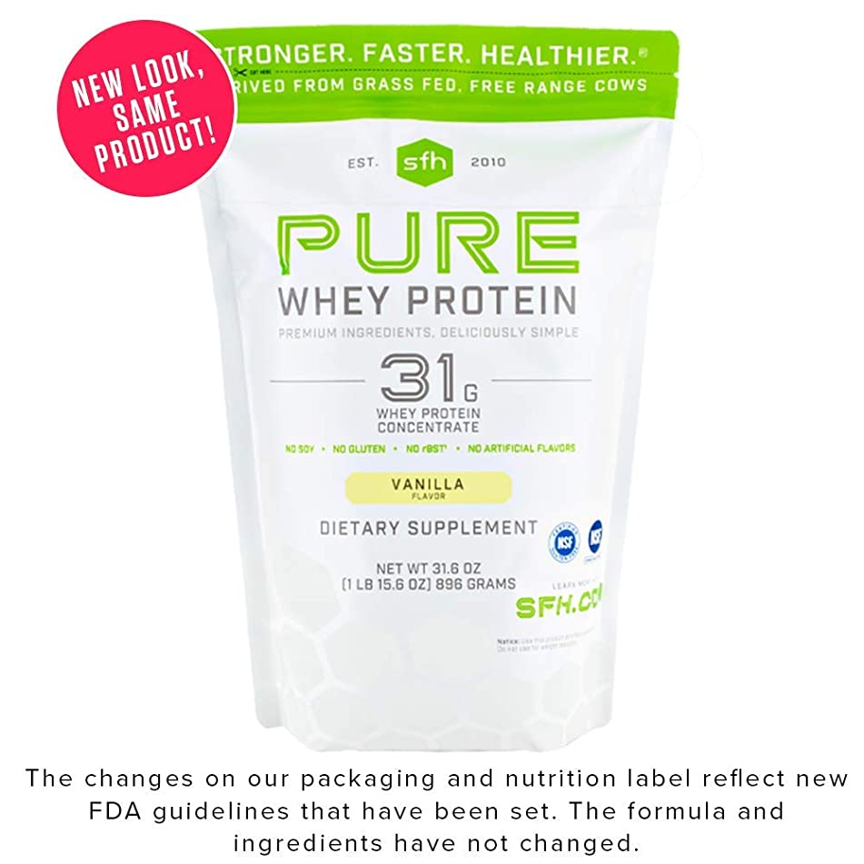 Pure Whey Protein Powder by SFH | Best Tasting 100% Grass Fed Whey | All Natural | 100% Non-GMO, No Artificials, Soy Free, Gluten Free (Vanilla, 2 Pound Bag)