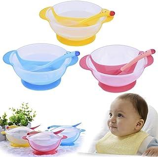 con cuchara y platos de aprendizaje Dabixx Vajilla de alimentaci/ón para beb/é 1 juego con cuenco para ni/ños y beb/és