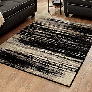 Better Homes and Gardens Black Shaded Lines Olefin Rug, 1'10