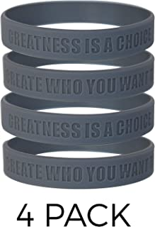 GOMOYO Greatness is a Choice, Create Who You Want to Be Motivational Silicone Wristband with Quote, Inspirational Rubber Bracelets