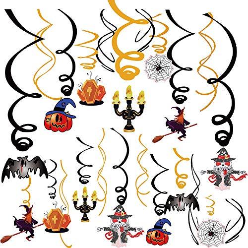BJ-SHOP Remolino Colgante de Fiesta de Halloween,Adornos de Espiral de Halloween 44 Unids Colorido Techo Torbellino Serpentinas Espirales Lámina