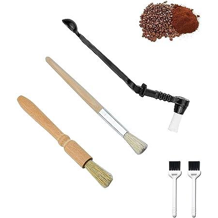 Pinceaux machine à expresso/Brosse à manche en bois/accessoires pour café/nettoyage de café à la cuillère/Café Moulin à café Brosse de nettoyage(4 pièces)