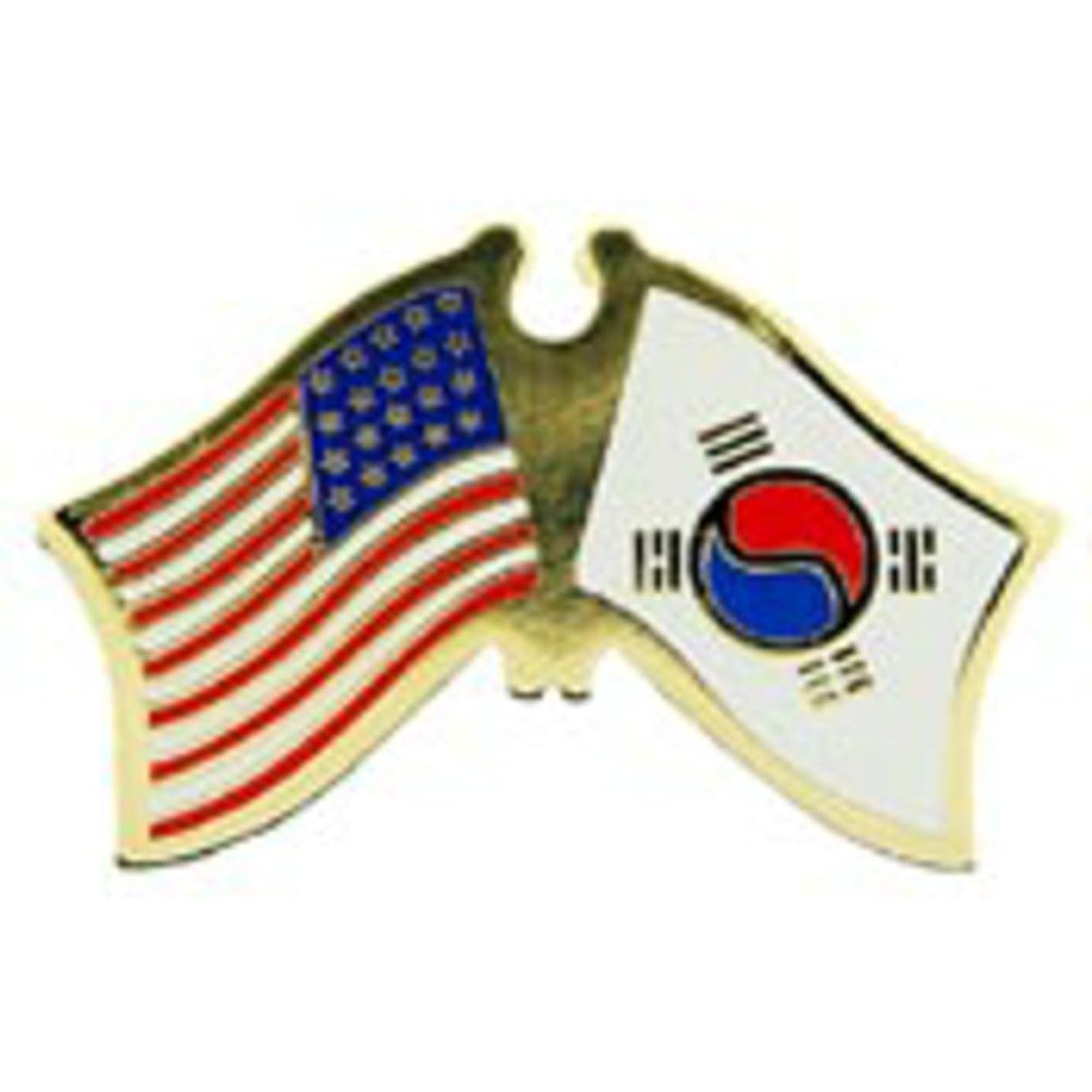EagleEmblems P09763 PIN-USA/Korea (Cross Flags) (1.125'')