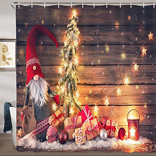 JAWO Weihnachts-Duschvorhänge, Weihnachtsmann, Zwerg, Tanne, mit Weihnachtsbeleuchtung auf rustikalem Holz Duschvorhang-Set, Xmas Country Stoff Badezimmer-Vorhang-Set mit Haken, 174 x 178 cm