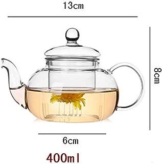 High Heat resistant glass Flower Tea Pot,Practical Bottle Flower TeaCup Glass Teapot with Infuser Tea Leaf Herbal Coffee,400ml