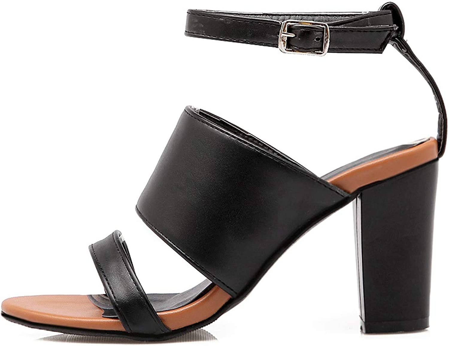 Zalin Summer Thick Heels Sandals Sexy Ankle Strap Buckle pu Leather Black White Party shoes