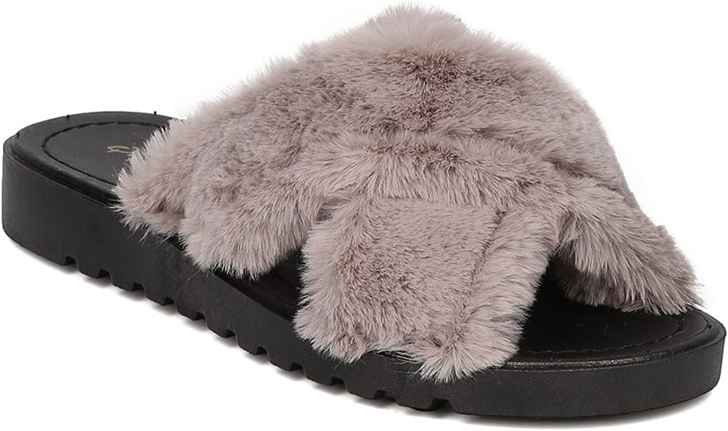 Qupid Conner-01 Women Furry Flat Slide Casual Lounge Spa Fuzzy Slipper