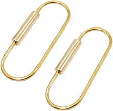 PPFISH Durable Brass Screw Lock Clip Key Chain Ring, Simple Style Car Keychain for Men Women (Pack of 2) (2 Long Type)