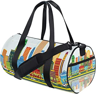 LONSANT Colorful City Love Themed Pattern with Dotted Louisville Lettering Travel Concept Barrel Duffel Bag Sports Yoga Gym Fitness Bag Travel Weekender Bags for Men and Women