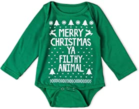 Toddler Baby Girls Boys Merry Christmas Ya Filthy Animal Long Sleeve Contest Party Xmas Romper Top