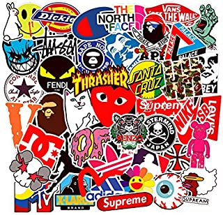 100 Pcs Fashion Brand Stickers for Laptop Stickers Motorcycle Bicycle Skateboard Luggage Decal Graffiti Patches Stickers for [No-Duplicate Sticker Pack]