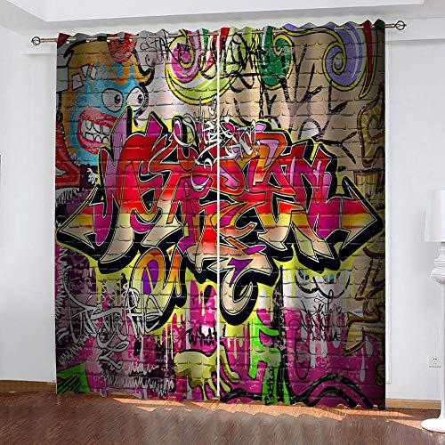 SJYHNB Cortina Opaca con Ojales 2 Piezas Letras de Graffiti pintadas Cortinas Térmicas Aislantes Moderna Decoración Ventanas para Dormotorio Habitacion Sala Salon 117 x 138 cm(An x Al)