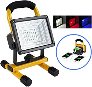 [30W 36LED]Lanfu Portable Waterproof LED Work Light Spotlights Outdoor Camping Fishing Car Repairing Lighting, Built-in Rechargeable Lithium Batteries (with 2 USB Ports and SOS Modes-IP65)
