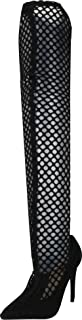 Cambridge Select Women's Fishnet Pointed Toe Stiletto High Over The Knee Boot