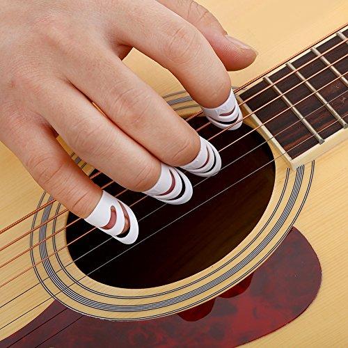 Fingerpicks Thumbpicks Schutz Set Kunststoff für Gitarre Bass Ukulele Mandoline 4 Stück