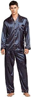 Pijamas De Hombre,Conjunto De Pijama De Seda para Hombre, Pijama De Seda para Hombre, Ropa De Dormir De Seda, Estilo Moderno, Camisón De Satén Suave Y Acogedor para Hombre, Verano