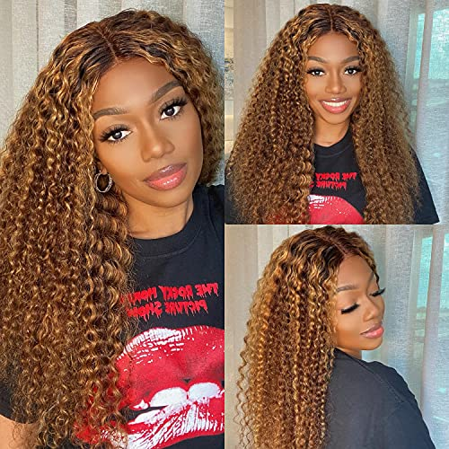 LuvMe Hair Ombre Brown Deep Wave Lace Front Wigs Human Hair Curly Wigs 4X4 Lace Clousure Glueless Human Hair Wigs 180% Density 18 Inch