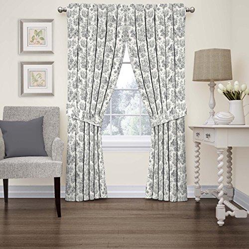 "WAVERLY Charmed Life Modern Farmhouse Room Darkening Thermal Rod Pocket Window Curtains for Bedroom (Single Panel), 52"" x 84"", Onyx"