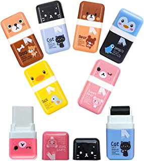 Pencil Erasers,Pencil Eraser Shaving Roller Case for Easy Pick Up and Removal   Animal Themed Cute and Fun Party Favor and...